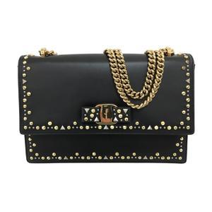 Salvatore Ferragamo Chain Shoulder Bag Ladies Black Leather