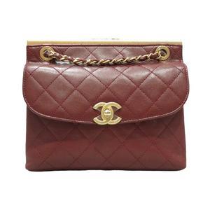 CHANEL Chain Shoulder Bag Ladies Wine Bicolor Leather A50925