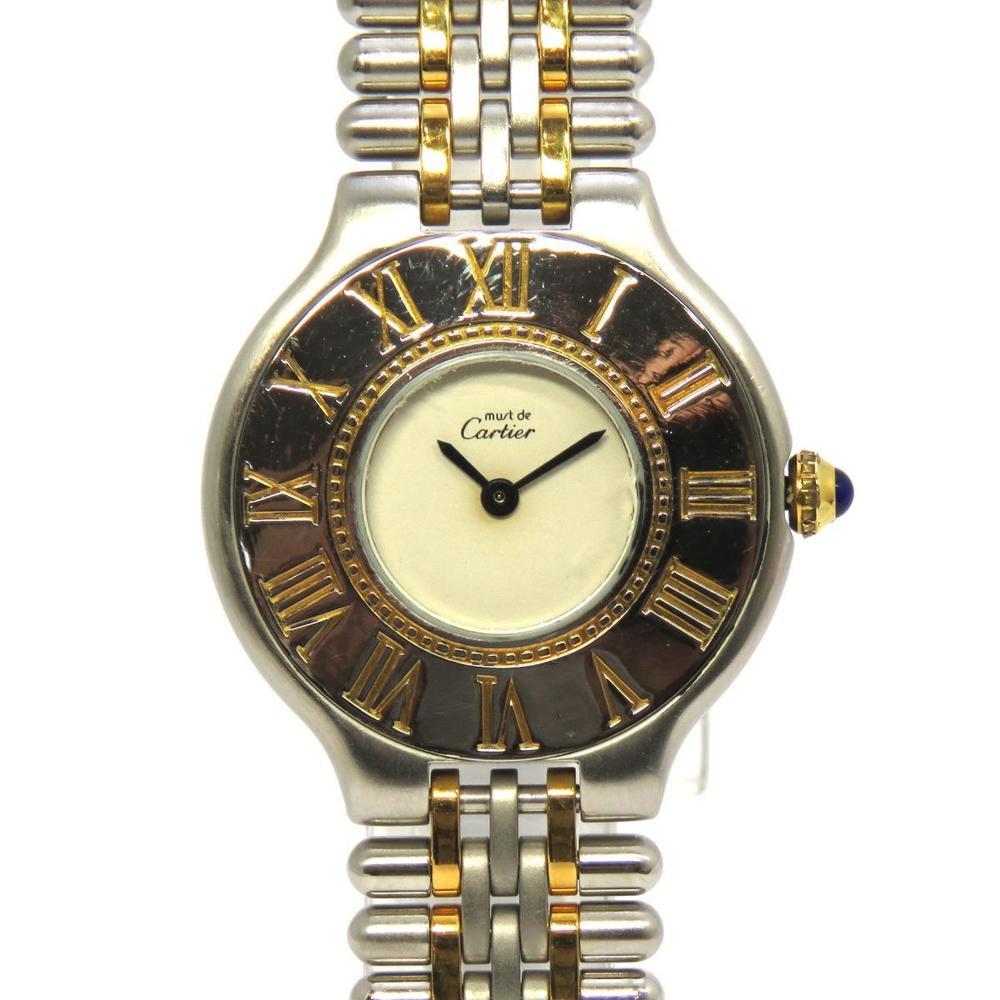 Cartier Must 21 Watch Ladies Quartz Stainless Steel SS K18 Gold