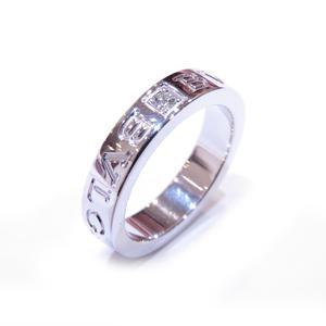 BVLGARI Bvlgari double logo ring 1P diamond K18WG 750 white gold # 48 7.5