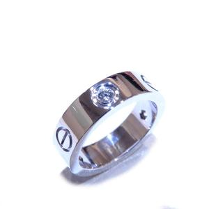 Cartier Love Ring Half Diamond K18WG 750 White Gold # 51 No. 11
