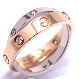 Cartier Belove ring 6P diamond K18PG 750 pink gold K18WG white # 48 8.5
