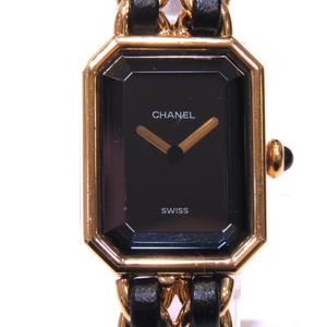 CHANEL Premiere M Watch Ladies Quartz Gold Black Leather