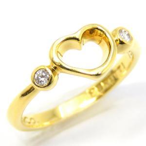 TIFFANY & CO Tiffany open heart ring 2P diamond K18YG 750 yellow gold 9