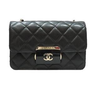 CHANEL Chain Shoulder Bag Black Leather