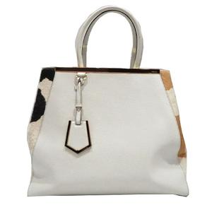 FENDI Toujour Tote Bag Ivory Leather Hair Calf