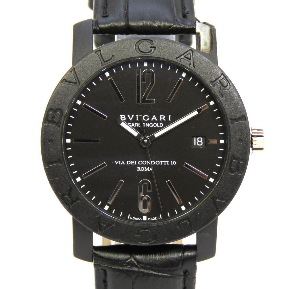 BVLGARI Bvlgari Watch Wrist Mens Automatic Carbon Leather Belt BB40CL