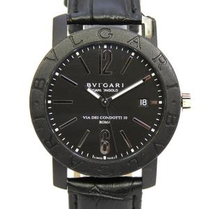 BVLGARI Bvlgari Watch Wrist Mens Automatic Carbon Leather Belt BB40CL