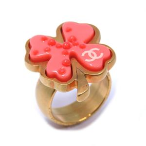 CHANEL 03P Clover Ring Gold Metal Plastic No. 12.5