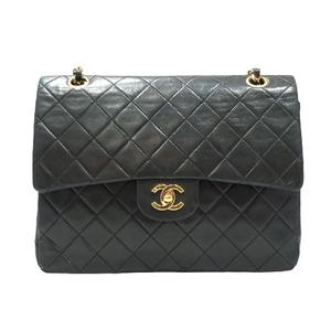 CHANEL Mattelasse Chain Shoulder Bag Turnlock Black Lambskin