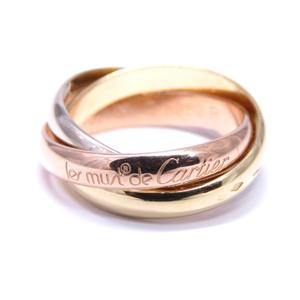 Cartier Trinity Ring K18YG 750 Yellow Gold Pink White # 53 No. 13