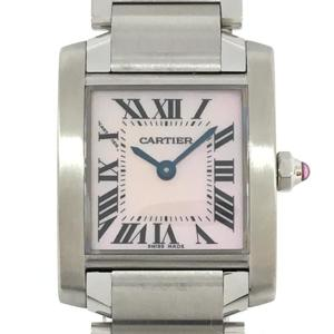 CARTIER Tank Francaise SM Pink Shell Ladies Watch Quartz Stainless Steel