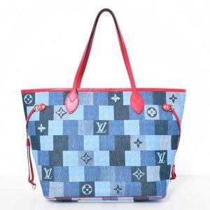 BR Rakuichi Main Store LOUIS VUITTON Louis Vuitton Damier Denim Neverfull MM Tote Bag Leather
