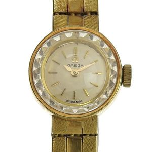 B Rakuichi Net Store OMEGA Omega K18 Devil Cut Glass Ladies Manual Winding Watch Cal.483 43.2g