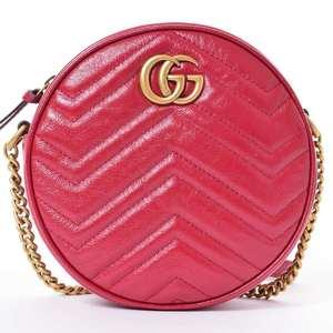 BR Rakuichi Main Store GUCCI Gucci Leather GG Marmont Round Shoulder Bag