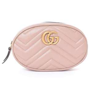 BR Rakuichi Main Store GUCCI Gucci Leather GG Marmont Waist Bag Beige
