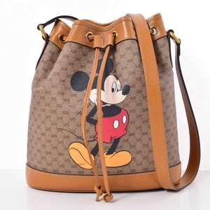 BR Rakuichi Main Store GUCCI Gucci Disney Collaboration GG Supreme Drawstring Shoulder Leather