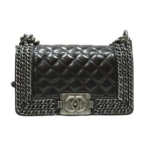 CHANEL Chanel Boy Chain Shoulder Bag Black Leather