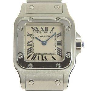 B Rakuichi Main Store Genuine Cartier Santos Garve SM Ladies Quartz Wrist Watch 1565