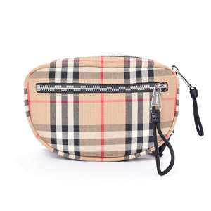 BR Rakuichi Main Store BURBERRY Burberry Nylon Plaid Waist Bag Beige Leather