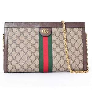 BR Rakuichi Main Store GUCCI Gucci GG Supreme Ophidia Chain Shoulder Bag Leather