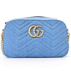 BR Rakuichi Main Store GUCCI Gucci Denim GG Marmont Shoulder Bag Leather