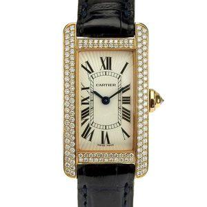 B Rakuichi Net Store CARTIER Cartier K18PG Tank American SM Diamond Bezel Ladies Quartz Wrist Watch