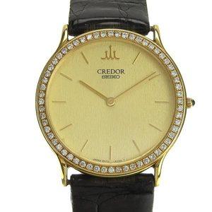 B Rakuichi Net Store SEIKO Seiko Credor K18YG Men's Quartz Watch Bezel Diamond 8N70-6110