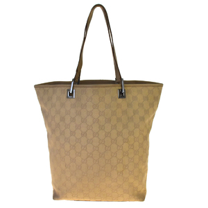 Gucci GG Canvas Leather Tote Bag Beige