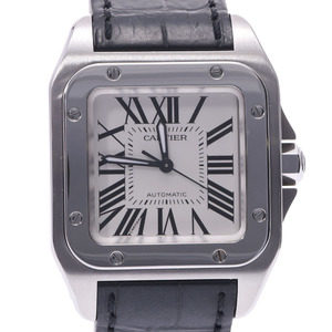 CARTIER Santos 100 MM Steel Leather Watch Automatic Mens W20106X8