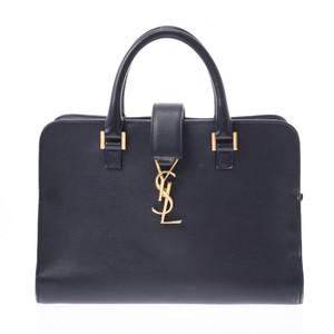 Saint Laurent Cabas Navy Gold Hardware Ladies Calf 2WAY Bag