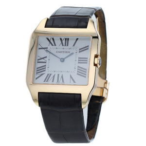 CARTIER Santos Dumont LM 2650 Hand-Winding Watch 18K Pink Gold Leather Sapphire Mens