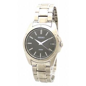 SEIKO Date Black Dial 100M Steel Mens Quartz Watch 7N42-0FH0