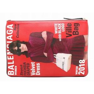 BALENCIAGA Clutch bag Second Pouch Leather Red Blue Multicolor 506794 1 CYEN 6064