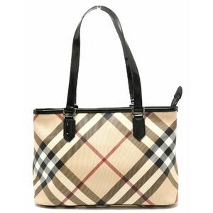 Burberry Nova Check Plaid Tote Shoulder Bag PVC Patent Leather Beige Black Red