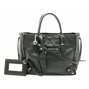 BALENCIAGA Paper Mini A4 Zip Around Handbag 2WAY Shoulder Bag Leather Black 357333