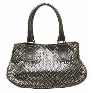 Bottega Veneta Intrecciato Handbag Leather Dark brown Silver 131679