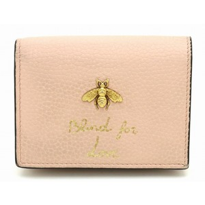 GUCCI Gucci Animalier leather compact wallet two fold metal bee BEE pink 460185 A7MOT 5909