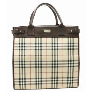 Burberry Nova Check Tote Bag Handbag Nylon Canvas Leather Beige Red Dark Brown Black
