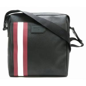 BALLY Barry Train Spotting Shoulder Bag Leather Black White Wine Red