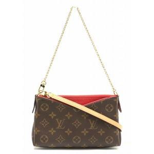 LOUIS VUITTON Louis Vuitton Monogram Pallas Clutch 2WAY Handbag Shoulder Bag Chain Three Red M41638