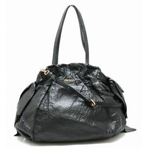 PRADA Prada Tote bag Shoulder 2WAY Ribbon gather Leather NERO Black Gold Hardware