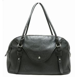 FURLA Furula Boston Bag Tote Shoulder Leather Black Silver Hardware