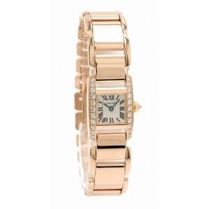 CARTIER Tankissime K18PG 750PG Pink Gold Diamond Bezel Ladies Quartz Watch WE70058H