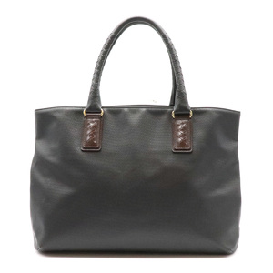 Bottega Veneta Marco Polo Tote Bag PVC Leather Black Dark Brown