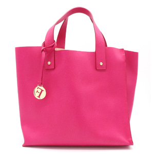 FURLA Fuller Tote Bag Handbag Charm Leather Fuchsia Pink Gold Hardware