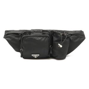 PRADA Prada waist bag pouch body hip nylon NERO black silver metal fittings VA0056