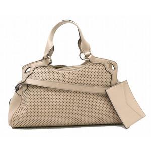 Cartier Marcello De Handbag 2WAY Shoulder Bag Punching Leather Beige Silver Hardware
