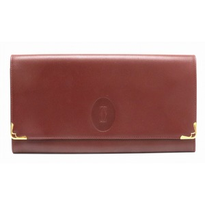 Cartier Mastline Second Bag Clutch Leather Calf Bordeaux Gold Hardware 73184155