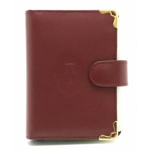 Cartier mast line card case business holder leather calf bordeaux gold hardware L3000470